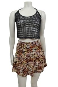 Silence + Noise Urban Outfitters Aztec Leopard Print Skater Skirt tan