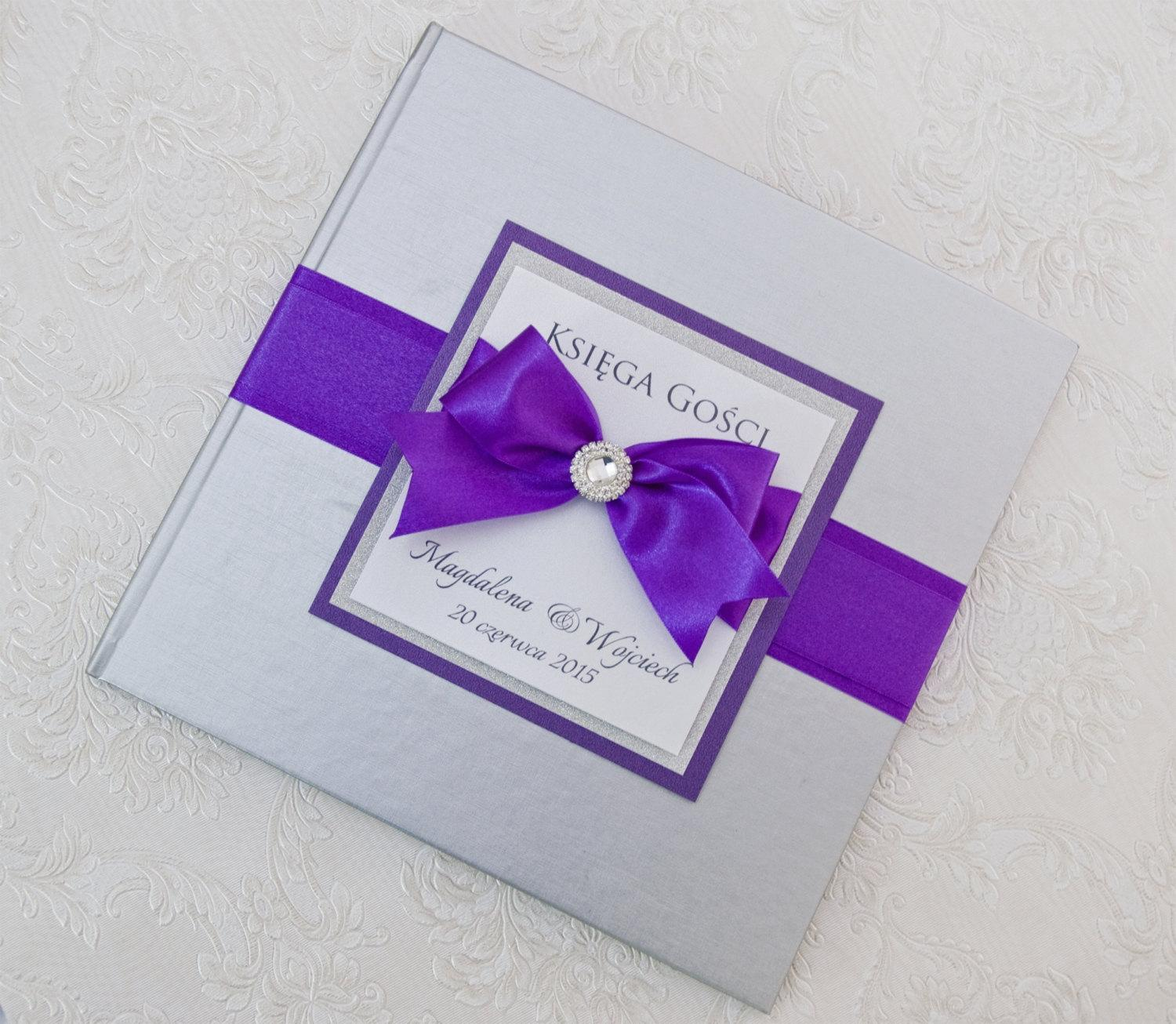 silver and purple wedding guest book personalized tradesy