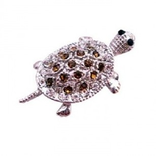 Silver Casting Turtle Tag Pendant In Smoked Topaz Crystal Brooch/Pin