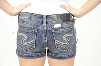 Silver Jeans Co. Marti Low Rise Cut Off Shorts Blue