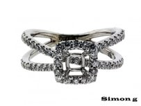 Simon G 85ct Diamond Engagement Ring In 14k Fits 85 To 110ct Square Cut Diamo