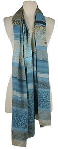 Sisley Sisley Womans Blue Taupe Floral Scarf One