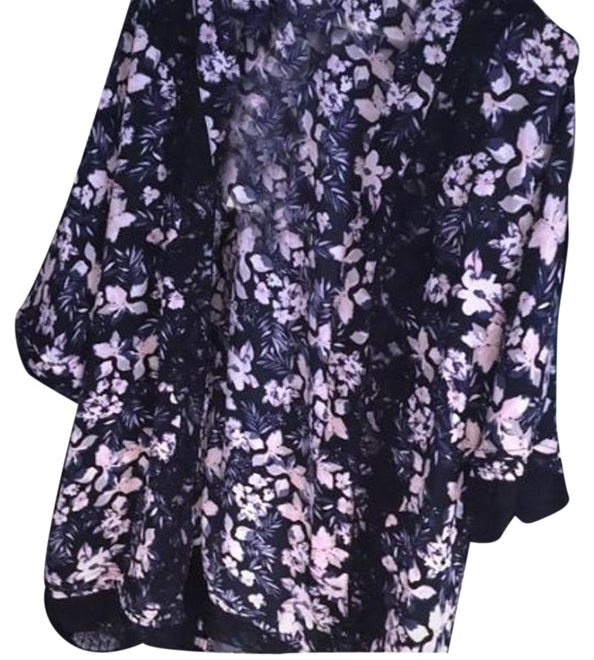 Skies Are Blue Navy Floral Kimono Cardigan Size 2 (XS) - Tradesy