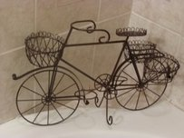 Small Mini Bicycle Planter Centerpiece Brown Metal