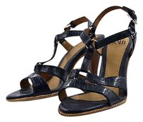 Söfft Sofft Womens Navy Textured Ankle Strap Heels Leather Blue Pumps