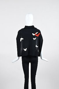 Sonia Rykiel Sonia Rykiel Black Sweater Knit Tie Front Butterfly Graphic Attached Scarf