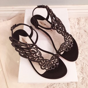 Sophia Webster Black Crystal Sandals