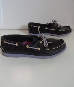 Sperry Leather Casual Slip On Boat B3141 Black Flats