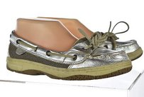Sperry Top Sider Womens Silver Boat 5m Metallic Slip On Casual Multi-Color Flats