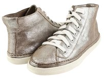 Splendid Solano Silver Cracked Suede Designer High Top Sneakers Metallic Athletic