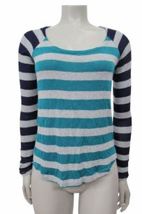 Splendid Color Block Striped Top teal gray navy