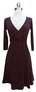 Splendid short dress Brown V-neck 3/4 Sleeves Tie Ruffle Midi on Tradesy