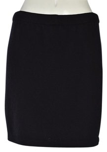 St. John Basics Womens A Line Wool Above Knee Solid Casual Skirt Navy