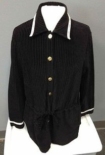 St. John Sport Cotton Blend Ribbed Gold Tone Button Up Sm1489 Black Jacket