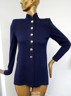 St. John Basics Navy Santana Knit Crest Button Cardigan Sweater P Usa Blue Jacket