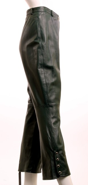 St. John Leather Vintage Straight Pants HUNTER GREEN