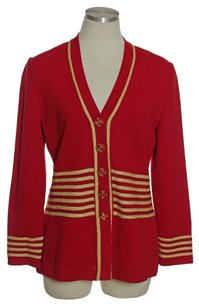 St. John Santana Knit Metallic Gold Red Jacket