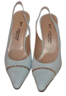 St. John Slingback Gold Chain Light Blue Suede Pumps