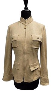 St. John St John Collection Beige Leather Applique Full Zip Blazer Sma9697