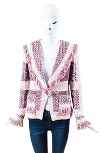 St. John St. John Couture Pink Cream Tweed Fringe Single Snap Blazer Jacket