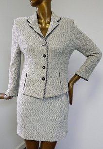 St. John St John Collection 1210 Black Beige Sparkle Knit 2pc Jacket Skirt Suit Usa
