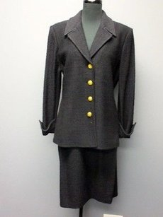 St. John St. John Collection Black Solid Button Jacket Skirt Suit Sm14177