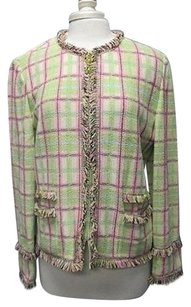 St. John St John Collection Pink Lime Black Long Sleeve Full Zip Blazer Sma 11696