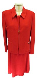 St. John St John Collection Red Dress W Gold Buckle Belt 10 Red Zip Jacket 12