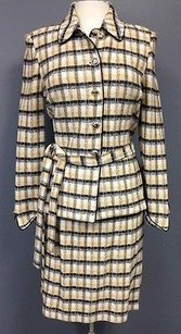 St. John St John Collection Yellow Black Plaid Wool Blend Pc Skirt Suit Sma 099
