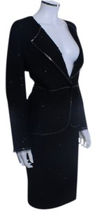 St. John ST JOHN COUTURE KNIT SUIT BLACK SKIRT BLAZER