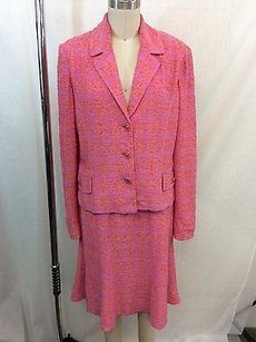 St. John St John Couture Pink Orange Knit Three Button Skirt Suit Small