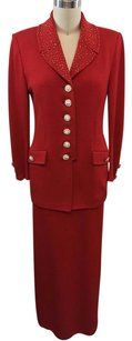 St. John St John Evening Red Knit Gold Stud Rhinestone Button Maxi Skirt Suit