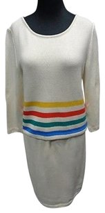 St. John St. John Sport Ivory Wool Blend Striped Two Piece Knit Skirt Suit Sma9383