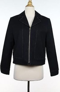 St. John St. John Sport Womens Black Beige Blazer Long Sleeve Cotton Blend