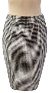 St. John John Stretch Knit Skirt navy and white