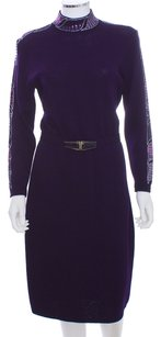 St. John Wool Knit Sweater Vintage Belted Embellished Sequin Dress