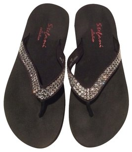 Stefanti Collection Flip Flops Summer Rhinestones Black Sandals