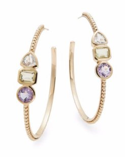 Stephen Dweck STEPHEN DWECK Quartz, Amethyst & Bronze Large Hoop Earrings 2.5