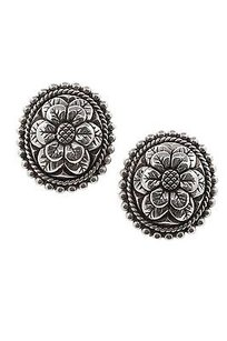 Stephen Dweck Stephen Dweck Sterling Silver Oval Flower Clip-on Earrings