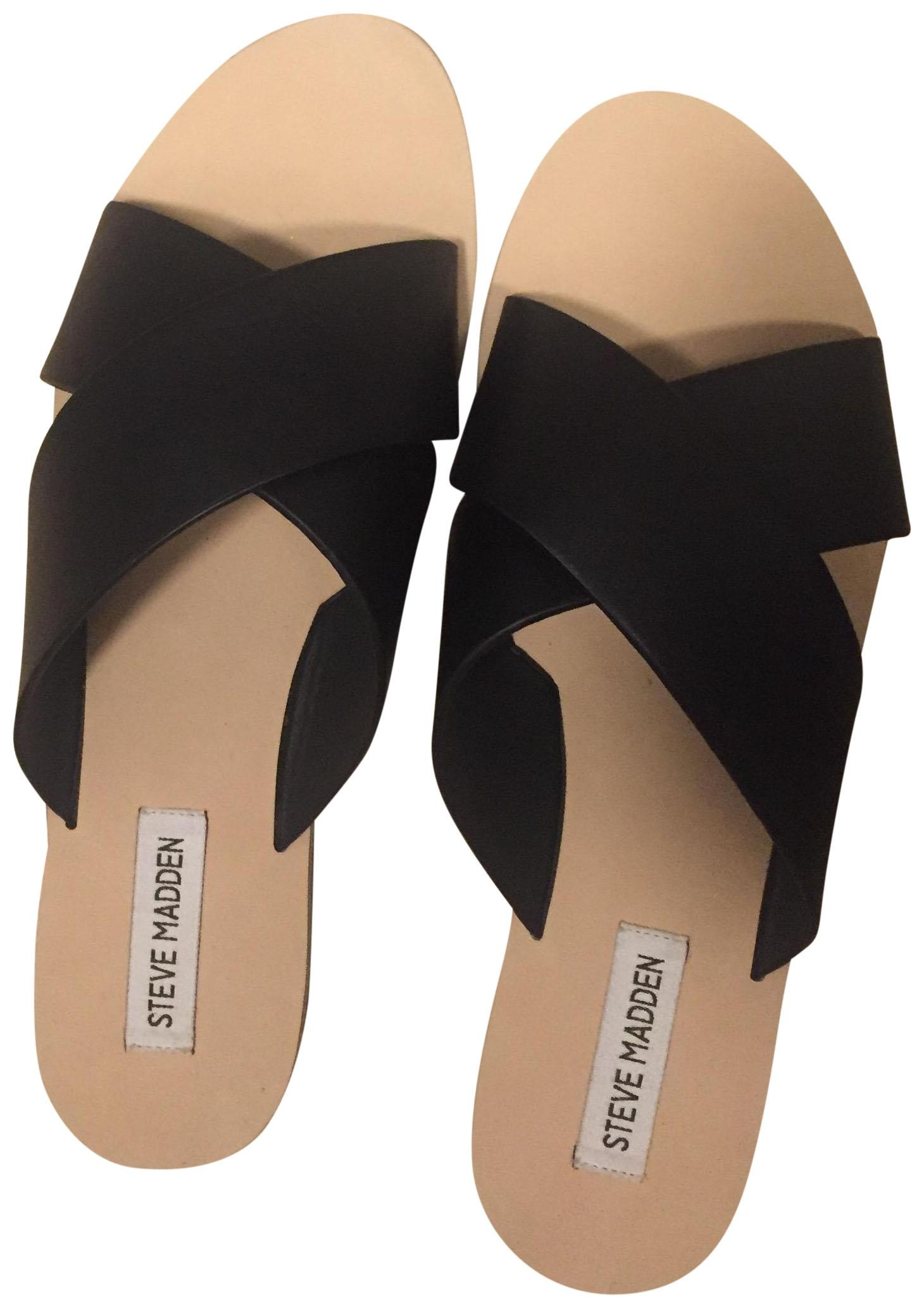 c0aaf067e348 Steve Madden Black Crisscross Leather Slide Slide Slide Sandals Size US 11  Regular (M