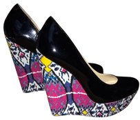 Steve Madden Black With Multi-color Wedge Wedges