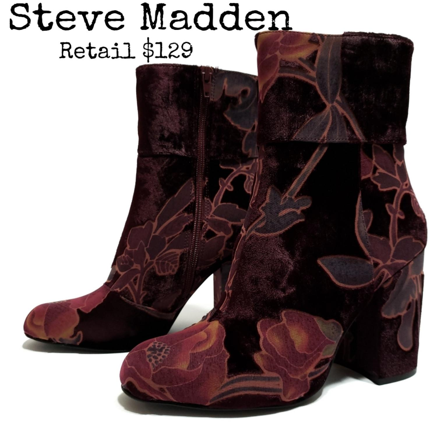 Steve Madden Burgundy Multicolored Goldie Block Heel Mid Boots/Booties Size B) US 8.5 Regular (M, B) Size d377bd