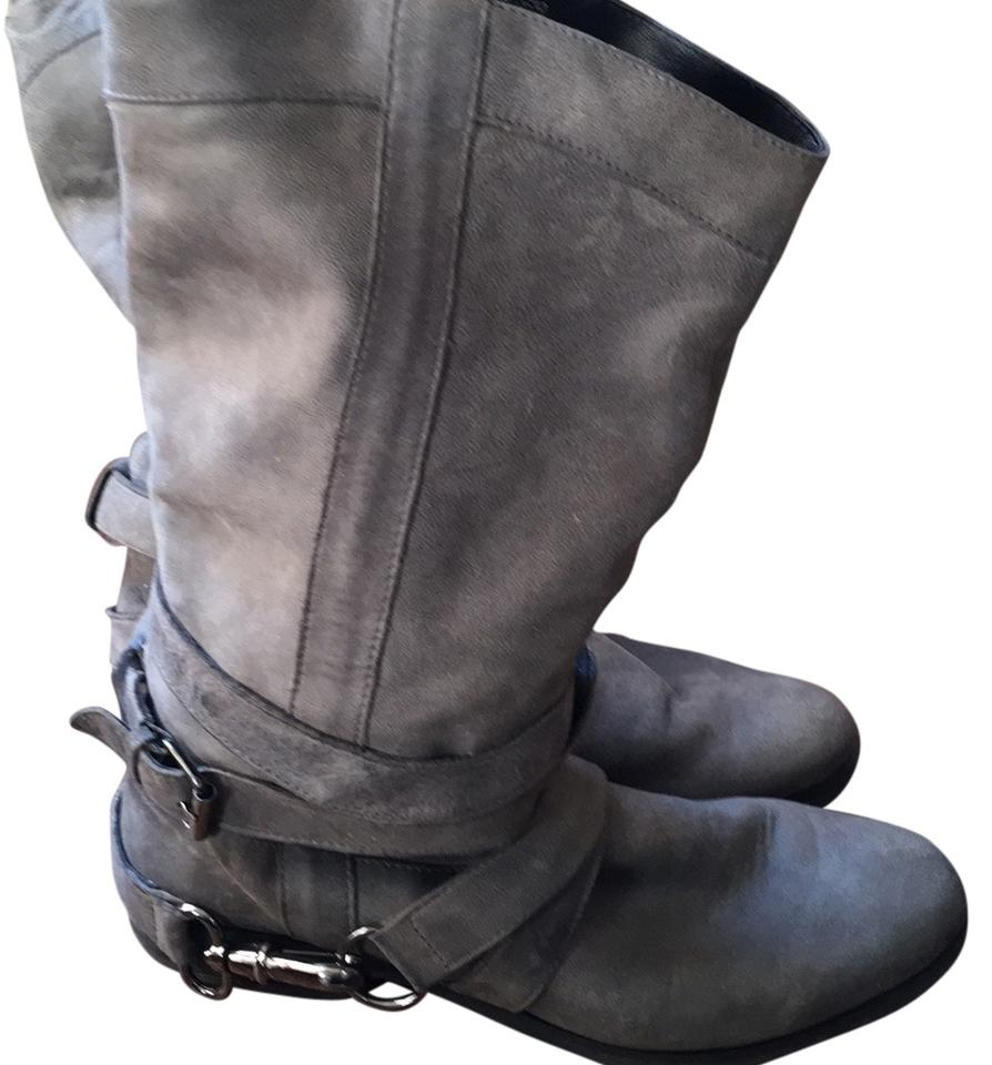 "Steve madden gray leather boots style is ""stagger"""