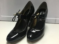 Steven by Steve Madden Patent Leather Tie Strap Detail High Heels B3086 Black Pumps