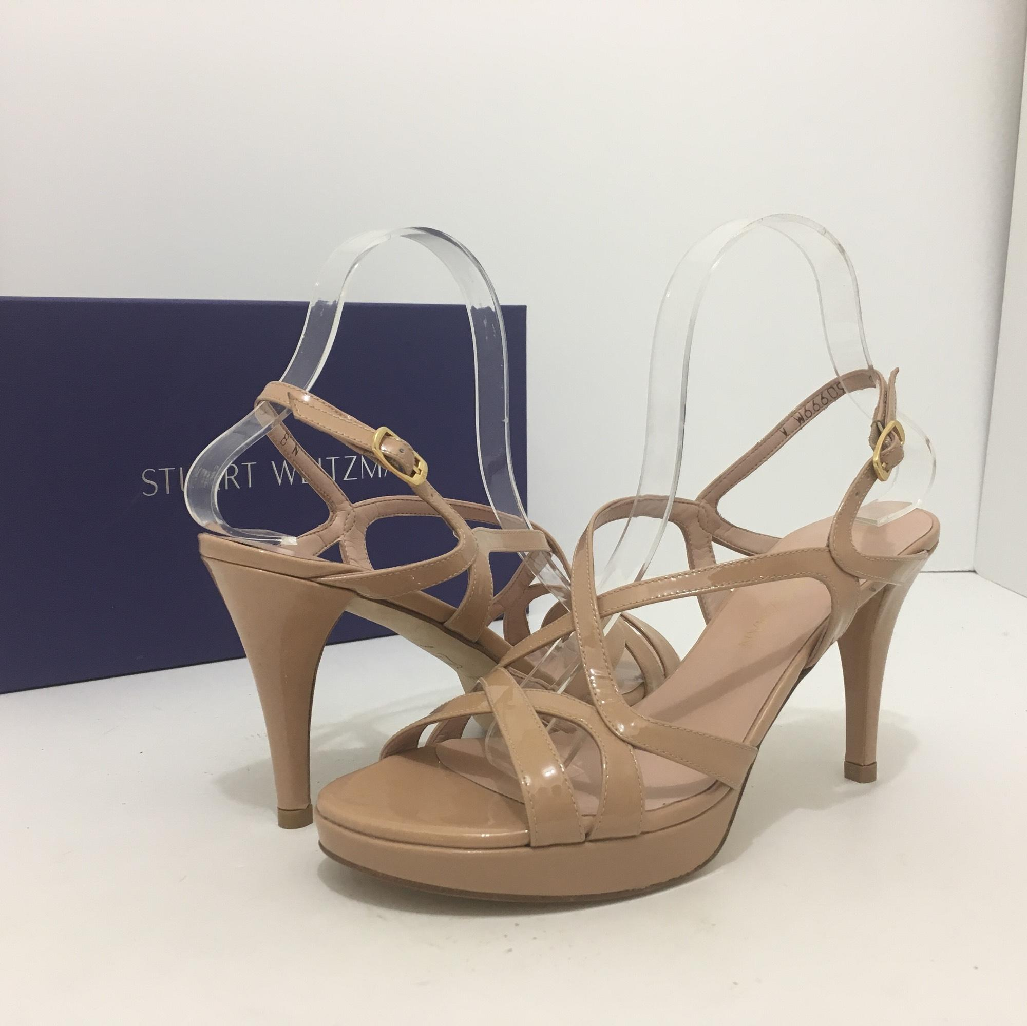 Stuart Weitzman Adobe Aniline Patent Leather - Nude Axis Women's Platform  High Sandals Size US 8 Narrow (Aa, N) - Tradesy