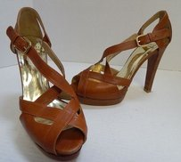 Stuart Weitzman Tan Leather Brown Platforms