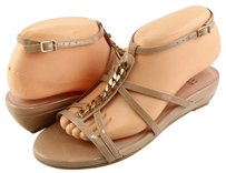 Stuart Weitzman Tiffy Nude Patent Designer Wedge Adobe Aniline Sandals