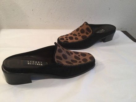 Stuart Weitzman Suede Pony Pattern Leather Lining Slip On Black and leopard Flats