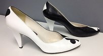 Stuart Weitzman Two Tone Black White Leather Playing Card Top B3154 Multi-Color Pumps