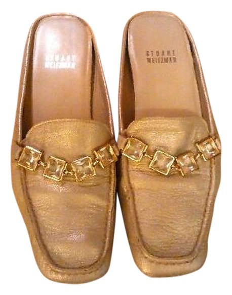 Stuart Weitzman Embossed Leather Mules